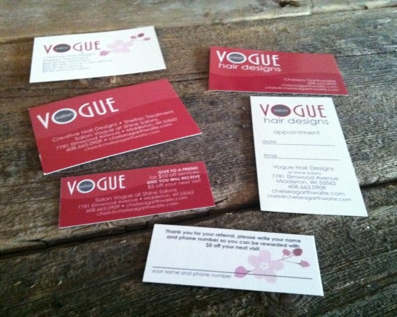 Salon Vogue logo, website and business collateral